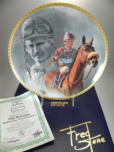 "Fred Stone Old Warriors Horse Collector Plate (#2243) 10""(Signed Bill Shoemaker)"