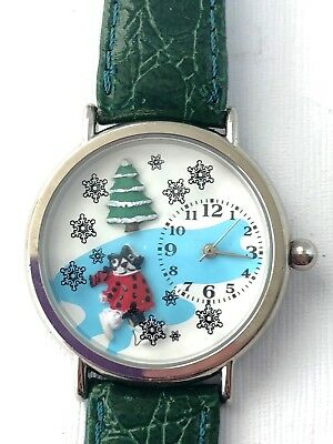 Christmas Tree Cartoon (Christmas Wrist Watch Cartoon Cat Tree Snowflakes Green Leather Band -)