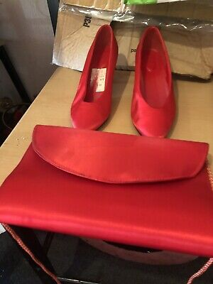 Red Satin Shoes And Matching Bag Size 5