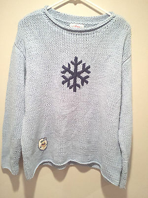 Vintage Ugly Christmas Sweater Tacky - Large L Blue The Disney Store Winnie - Ugly Sweater Store