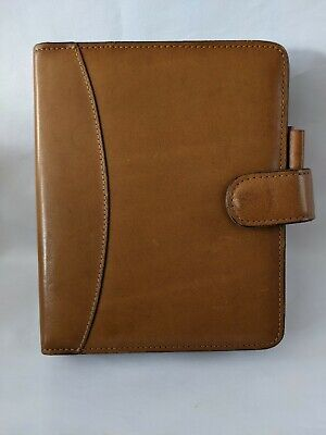 Franklin Covey Quest Tan Full Grain Leather Compact 6 Ring Planner Agenda Binder