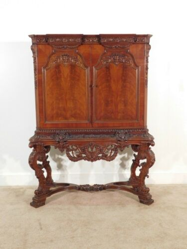 Antique KARGES Highly Carved Walnut Ornate One Drawer Chest On Stand