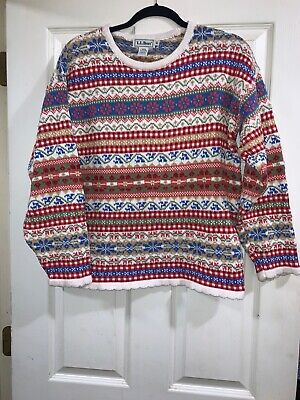 LL Bean Sweater - Floral Stripe - 100% Cotton - Made In Ireland - Ladies Medium