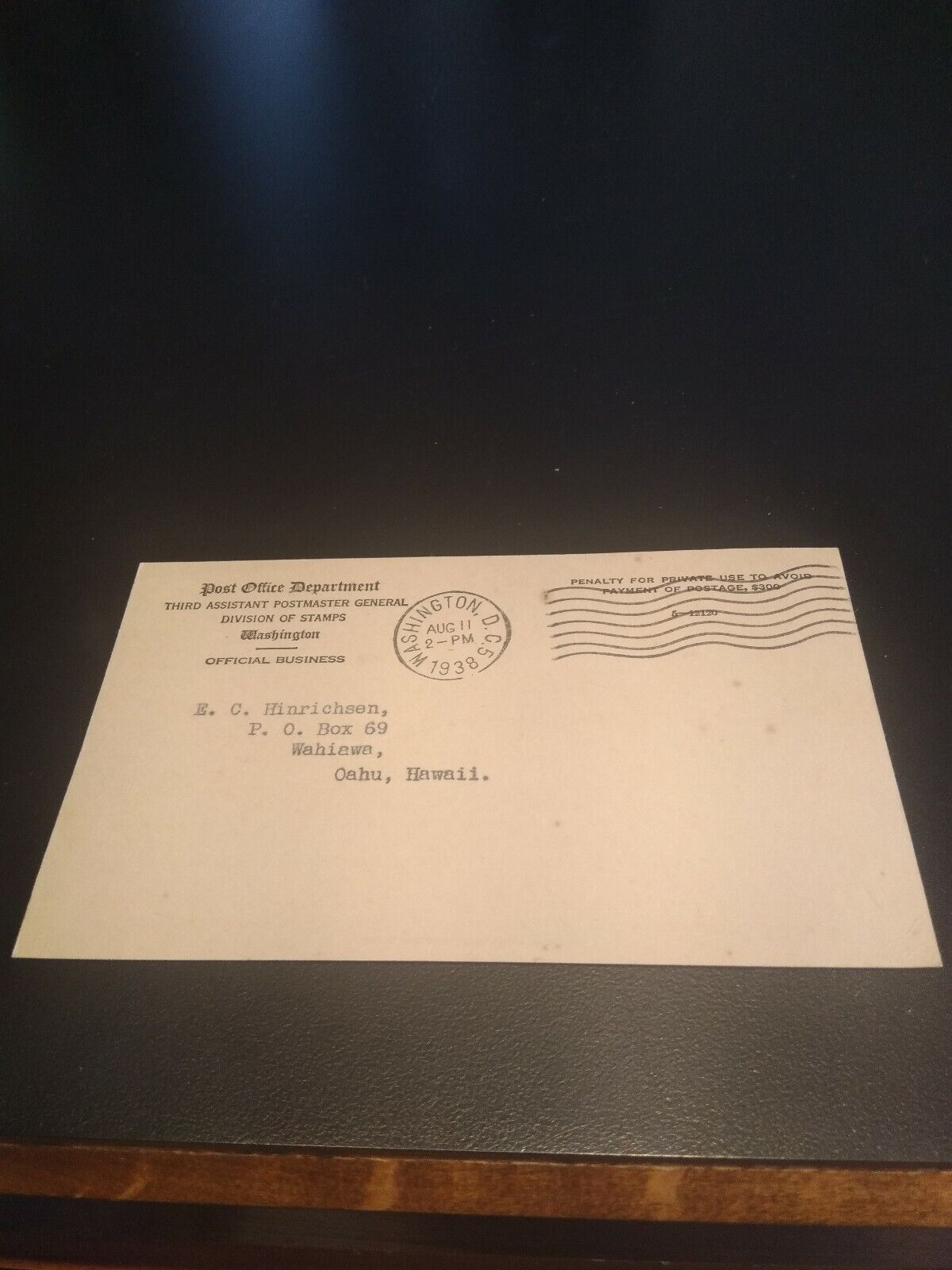 1.00 Ordinary Stamps 1938 POD Post Office Department Release Notification Card  - $7.50