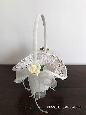 Streukörbchen Korb Blumenkorb für Streublumen Creme Weiss Hochzeit Blumenmädchen