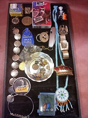Junk Drawer lot Vintage Coins Tokens Ohio Timken Goodyear Hardware Pins More