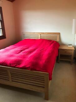Queen Bed w/ Mattress - Ash Pine Wood (Part of a Set)