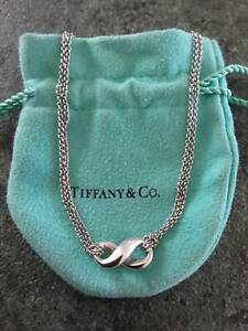 TIFFANY & CO STIRLING SILVER double chain necklace 14.5 RRP $495 Pre