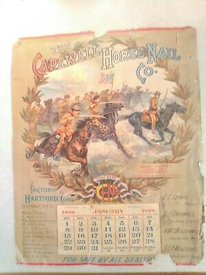 "Vintage 1899 Advertising Calendar for ""Capewell Horse Nail Co."