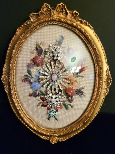 Vintage Jewelry Framed Art Rhinestones Oval Convex Glass Rhinestones