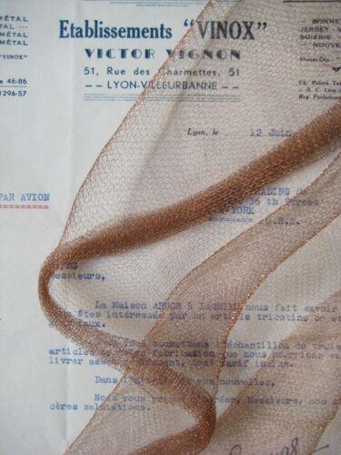 "18"" Antique Vintage UNUSED French Copper Metallic Mesh Tricotene Victorian"
