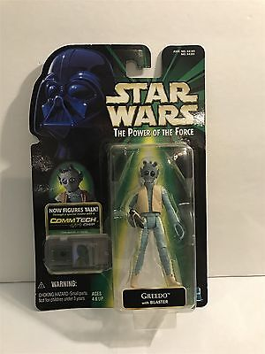 1999 Star Wars Power Of The Force Greedo W  Blaster Comm Tech Chip Action Figure