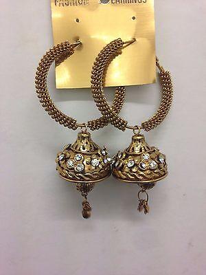 Neu Neueste Indisch Bollywood Kostüm Ohrringe Jumki Jhumka Bronze Gold - Neueste Kostüm