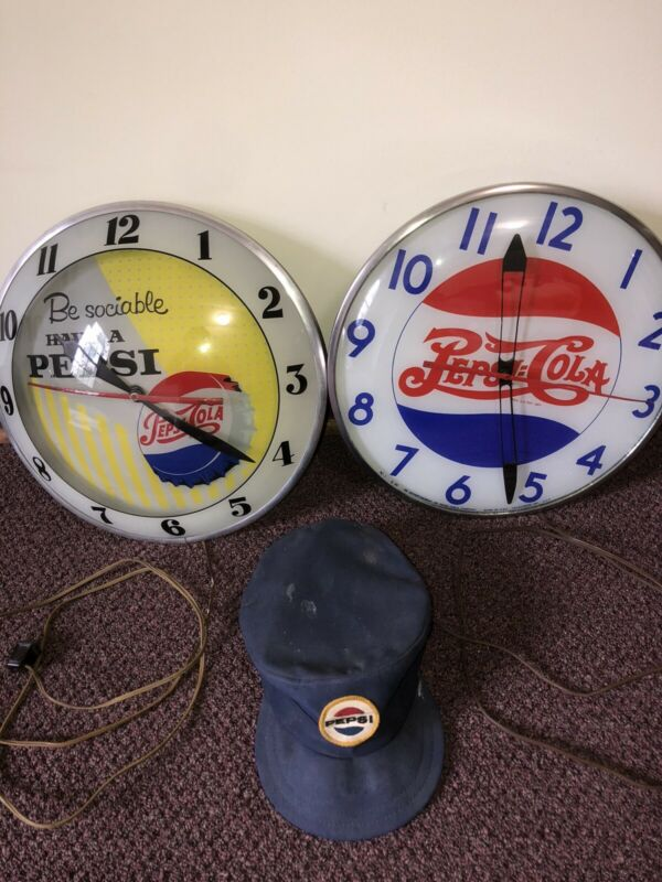 Lot Of Pepsi Clocks 60's Double Bubble 40's Double Dot And 30's Delivery Hat