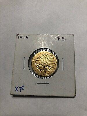 1915 $5.00 Half Eagle Indian Head - U.S.Gold Coin *076 Indian Head Half Eagle