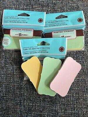 Lot 3 Packs Martha Stewart Avery Sticky Notes 3.5 X 1.7 Ultrahold Pastel 135pk