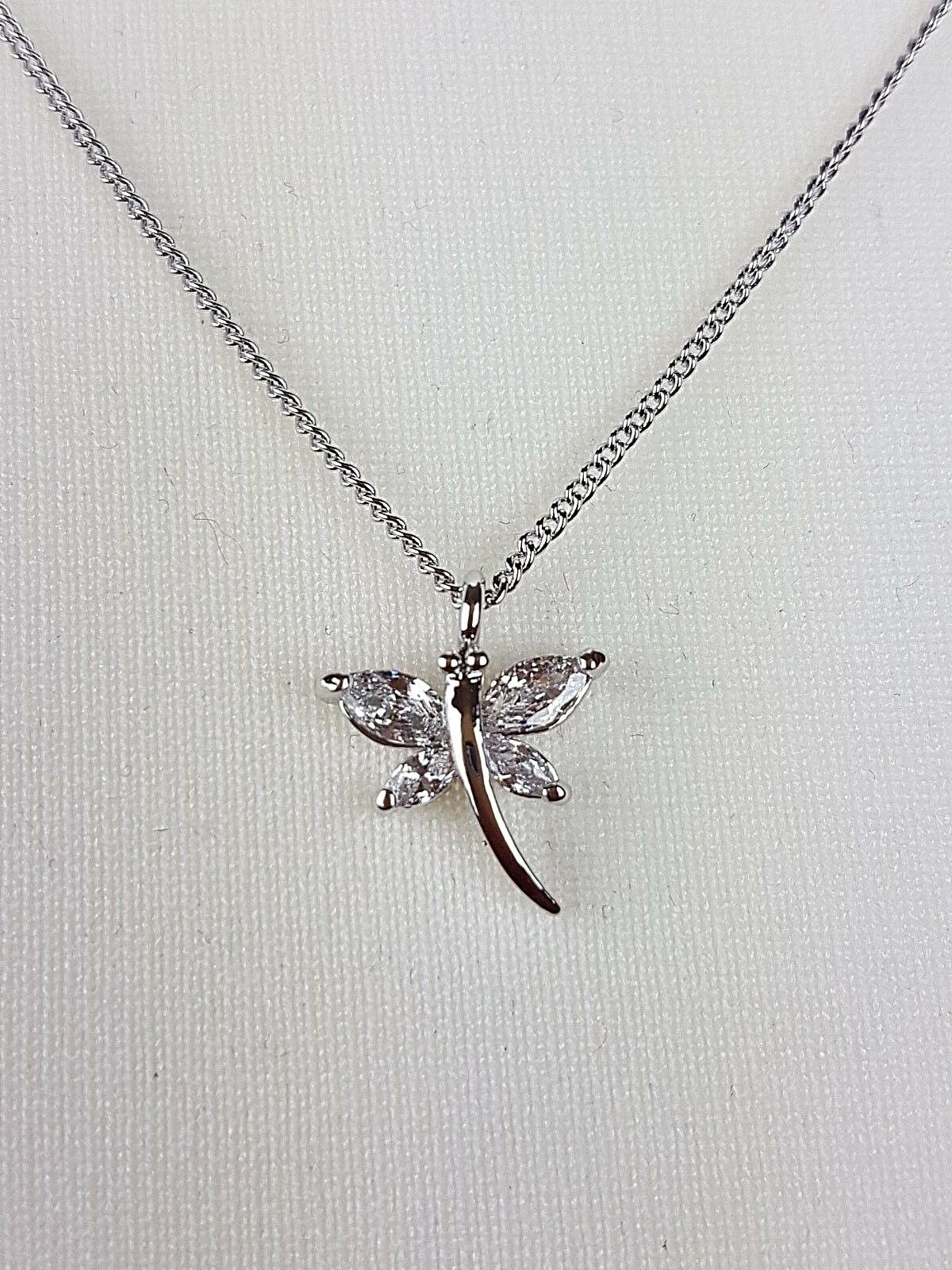 Ladies Girls Platinum Plated Friendship Sentiment Happiness Dragonfly Necklace