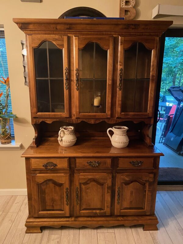 Ethan Allen Solid Cherry Buffet & China Hutch Cabinet