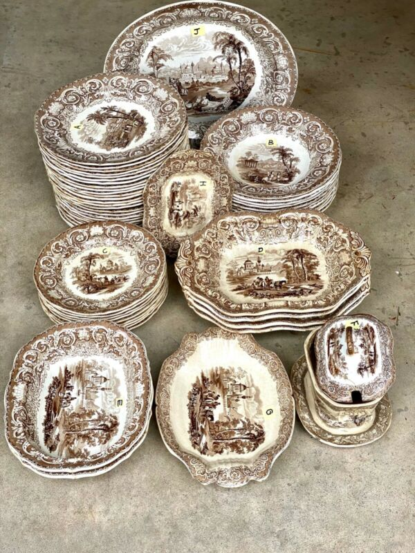 Antique Charles Meigh THESSALIAN 54 Piece Dinner Porcelain Set (1840s) - EUC