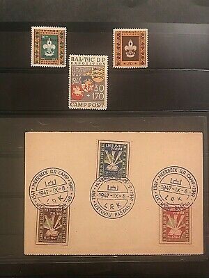 STAMPS/POSTCARD 1947 LITHUANIA city ANIKSCIAI-CAMP MEERBECK+3MiNT 1946 #01726