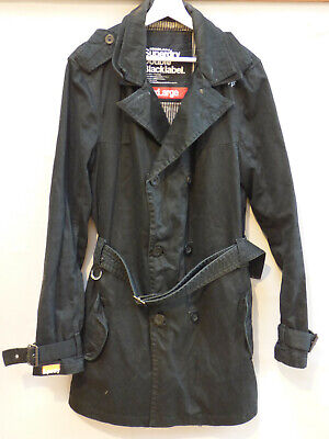 Superdry Double Black Label Double Breasted Trench Coat Jacket Cotton size XL