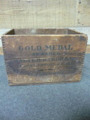 Vintage Wood Box Walter Baker Chocolate Gold Medal Paris Exposition Dorchester