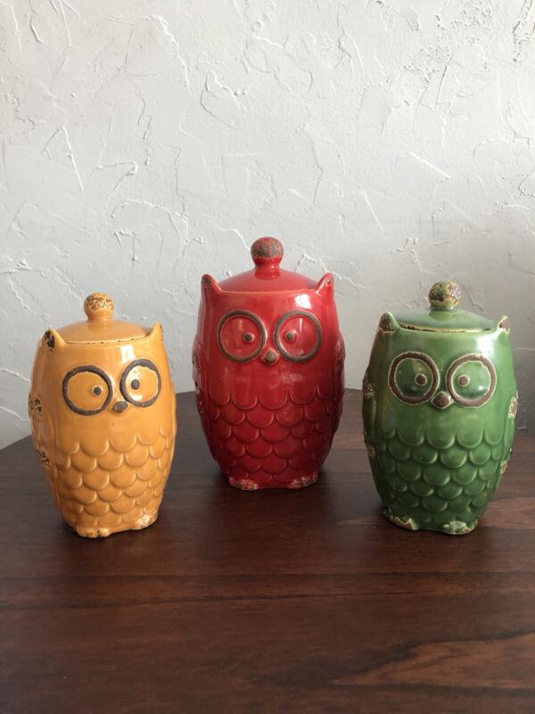 Owl Cannisters Ceramic Cookie Jars Sugar Jars Dry Tea Storage Canister Set
