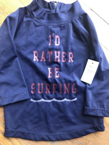 nwt boys surf navy blue rashguard swimsuit