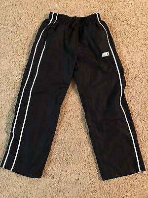 Nike Black Nylon Windbreaker Track Pants With White Piping
