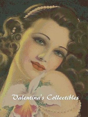 Vintage Lady with Orchid Counted Cross Stitch COMPLETE KIT #1-323