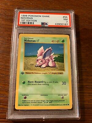 POP 290 QTY 1999 Pokemon Base Set Nidoran Shadowless 1st Edition #55//102 PSA 9