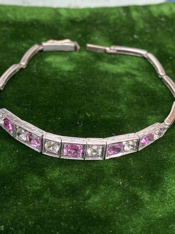 Antique Original Art Deco Silver 9ct Gold Pink White ?Sapphire Bracelet