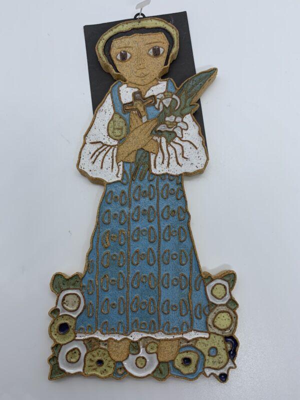 St Andrews Abbey Ceramic Saint Maria Goretti Plaque Wall Hanging