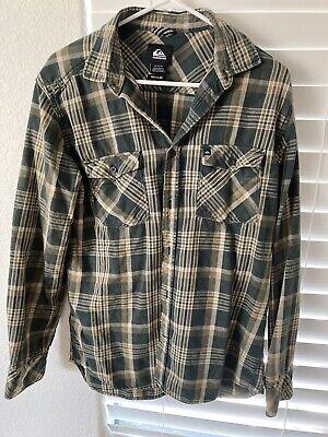 Quiksilver Mens Size Med. Button-Front Flannel Shirt Plaid Cotton