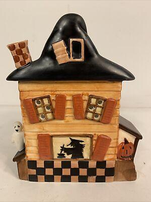 """Yankee Candle HAUNTED HOUSE 6.5"""" Tea Light Wax Warmer Halloween Teresa Kogut EUC"""