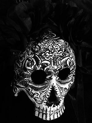 Origin Of The Halloween Mask (Sugar Skull Half  Mask Day Of The Dead Dia De Los Muertos Black Halloween)