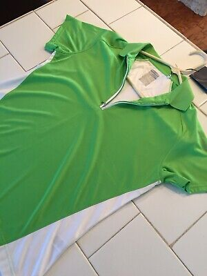 NWT Women's PAGE & TUTTLE Cool Swing Polo Golf Shirt Size Medium Green  MSRP $60 Medium Cool Green