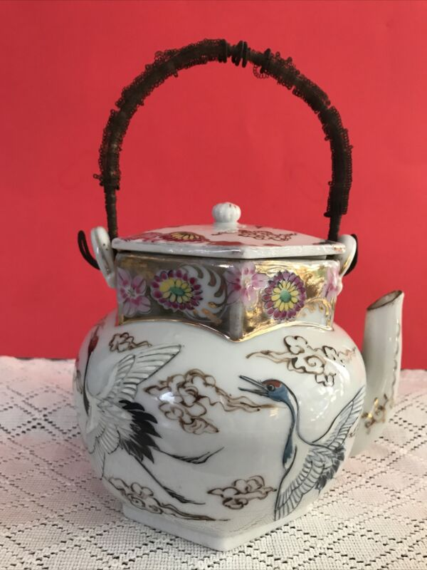 Vtg. Japanese (Chinese?) Porcelain Tea Pot W/ Hand Painted Cranes & Gold Clouds