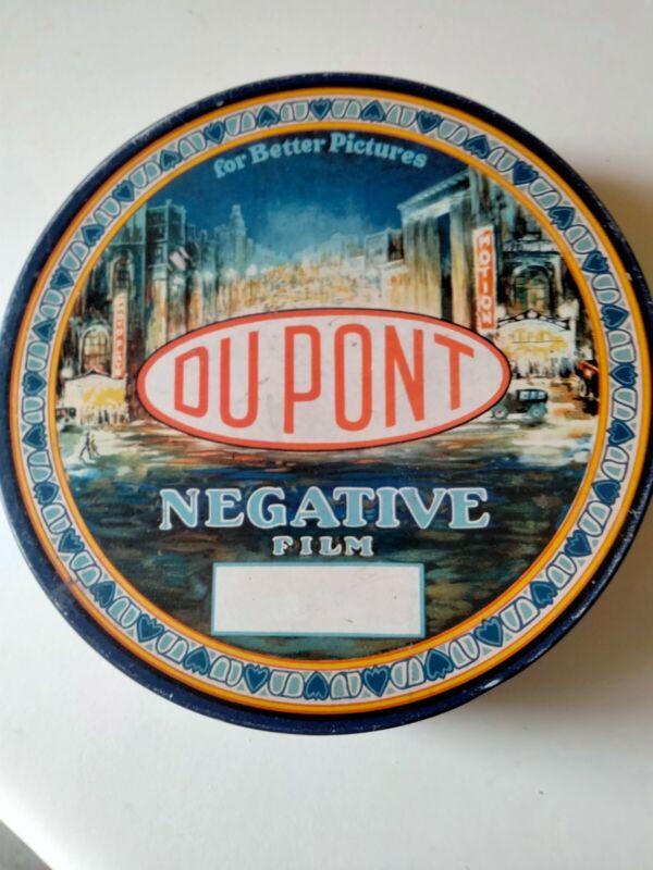 1920S-DU PONT Movie-NEGATIVE Film Reel-TIN CONTAINER-Nice Graphics-Rare