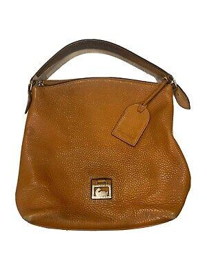 Dooney & Bourke Large Pebbled Leather Hobo Bag Logo Light Brown