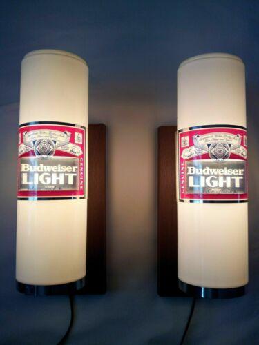 2 VINTAGE BUDWEISER LIGHT WALL LIGHTED LAMP