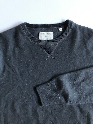 Linksoul Mens Med Gray 100% Luxury Cashmere Pullover Golf Sweater Elbow Patches