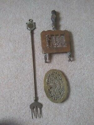 Old Vintage Solid Brass Fireplace Kettle Stand Trivets x 2 & Toasting fork