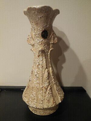 "Savoy 12"" Lt  Beige,Textured White & 24kt Gold Splattered Vase with Original Tag"