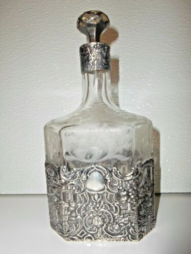 GORGEOUS ANTIQUE MAUSER MANUFACTURING FINE SILVER REPOUSSE ETCHED GLASS DECANTER