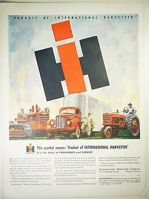 Vintage 1944 INTERNATIONAL HARVESTER TRUCKS & TRACTORS Lg Magazine Print Ad WWII