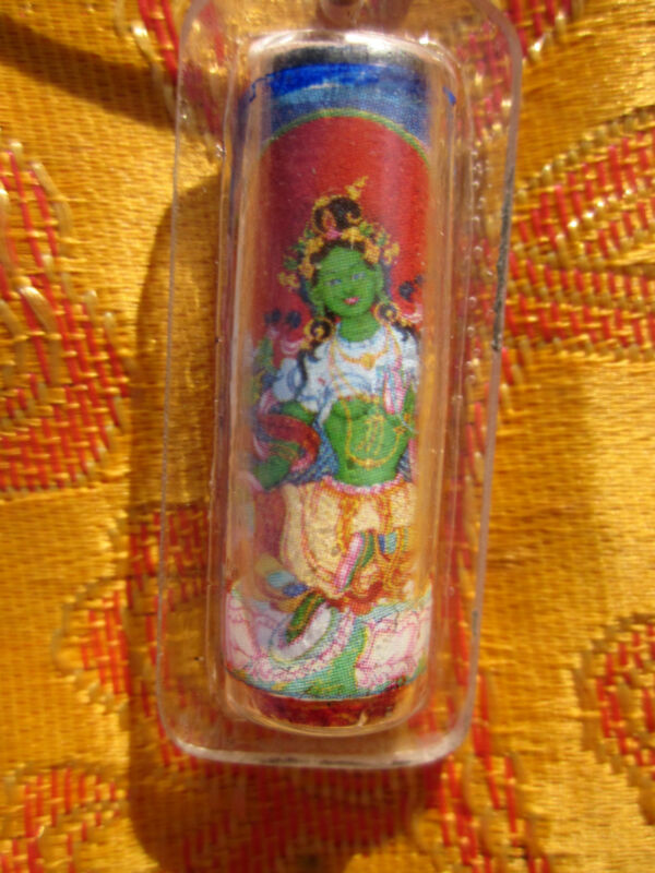 "1.5"" TIBETAN BUDDHIST BELOVED GREEN TARA w/ MANTRAS PENDANT NECKLACE BLACK CORD"
