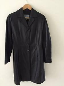 Long Black Womens Leather Jacket size 12 Mona Vale Pittwater Area Preview