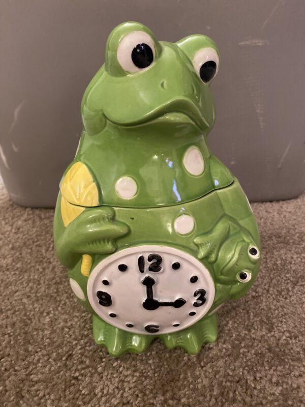 Vintage Frog Clock Cookie Jar Cara Creations Corp 1979
