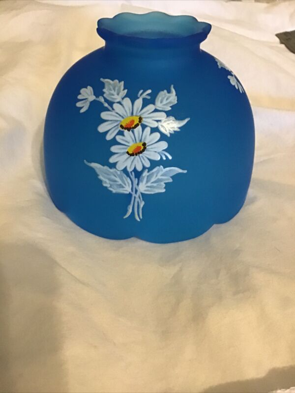 Vintage Blue Floral Small Colored Glass Shade